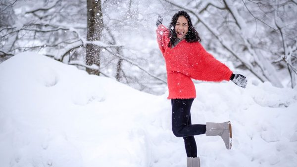P'Top with Red Winter Clothes in the Snow