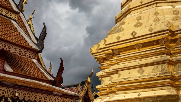Storm clouds over Doi Suthep temple