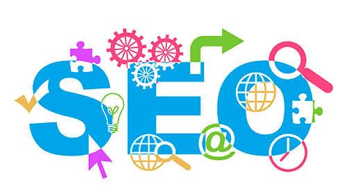 SEO Icon - Colourful Logo saying SEO